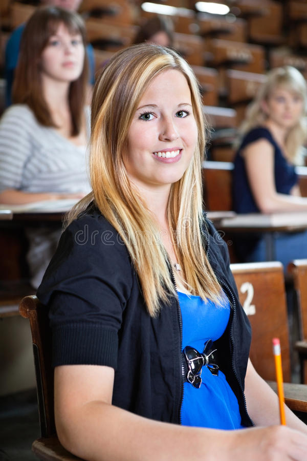 Student in Lecture Hall royalty free stock image