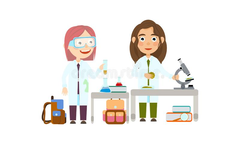 Student in the lesson of science conduct biologic and chemical experiments. Two girls at school or university. Student in the lesson of science conduct biologic vector illustration