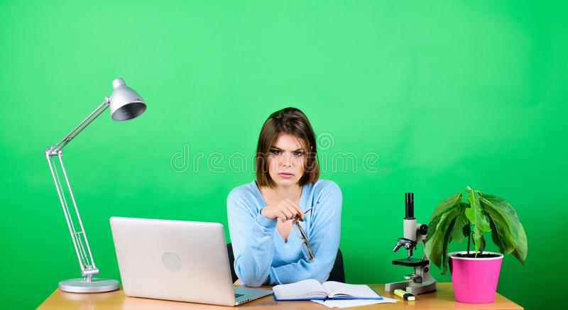 Student life. High school education. Start career of teacher. Online remote classes. Developing new project. Girl pretty. Attractive student with laptop. Modern stock photos
