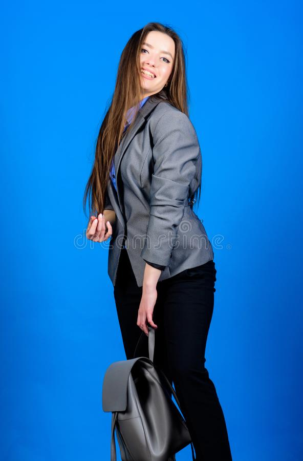 Student life. Smart beauty. Nerd. business. Shool girl with knapsack. female bag fashion. stylish woman in jacket with. Leather backpack. girl student in formal royalty free stock photography