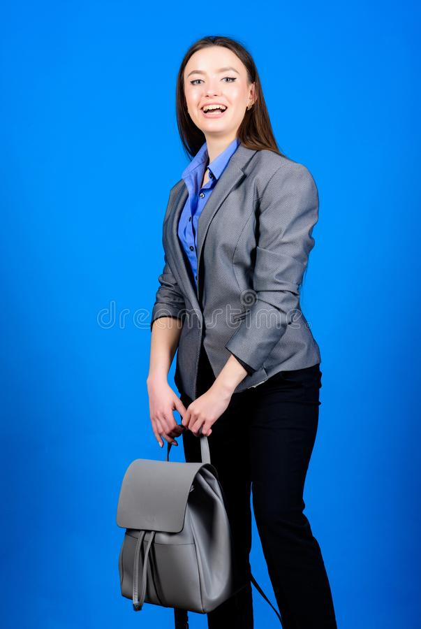 Student life. Smart beauty. Nerd. business. Shool girl with knapsack. stylish woman in jacket with leather backpack. Female bag fashion. girl student in formal stock images