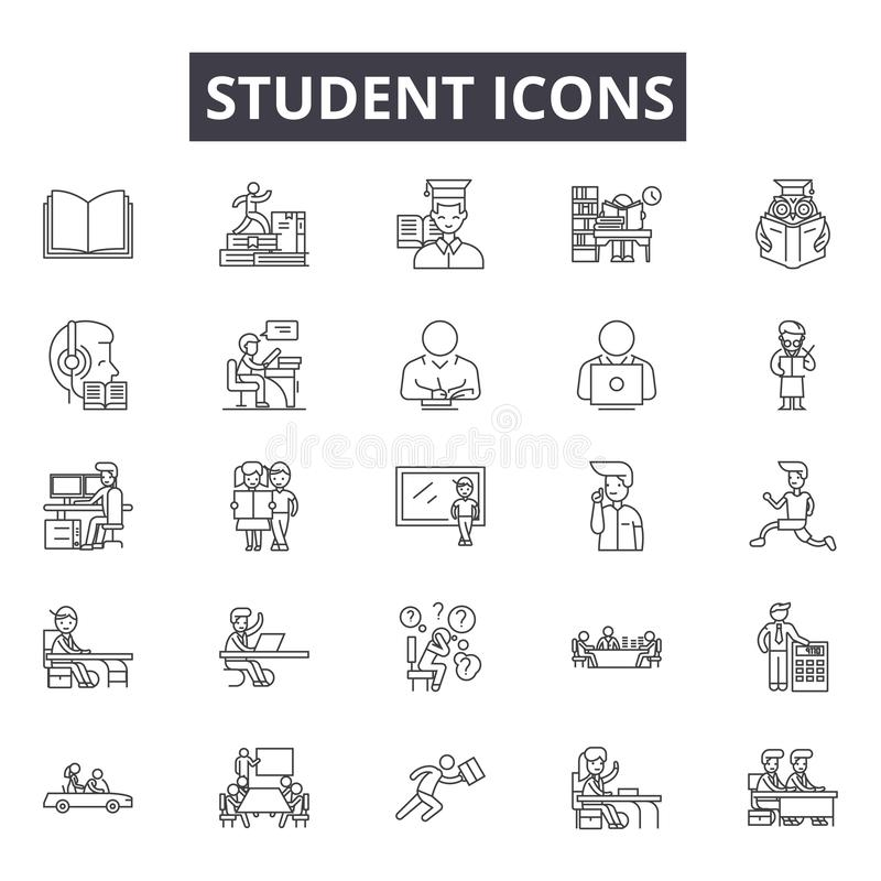 Student line icons for web and mobile design. Editable stroke signs. Student  outline concept illustrations vector illustration