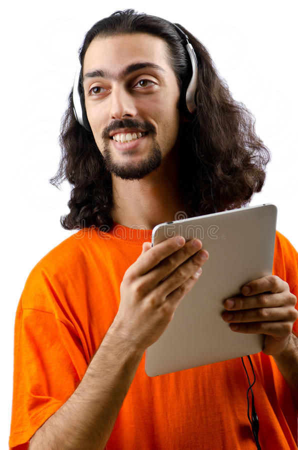 Download Student Listening Music With Tablet Stock Photo - Image: 23498440