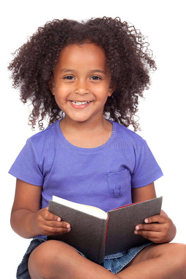 Download Student Little Girl Reading With A Book Stock Image - Image of child, background: 15135591