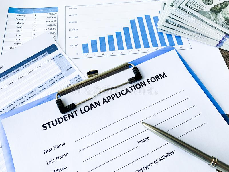 Student loan application form document on table royalty free stock images