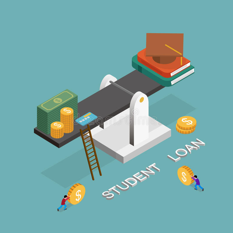 Student loan. Concept in 3d isometric flat design vector illustration