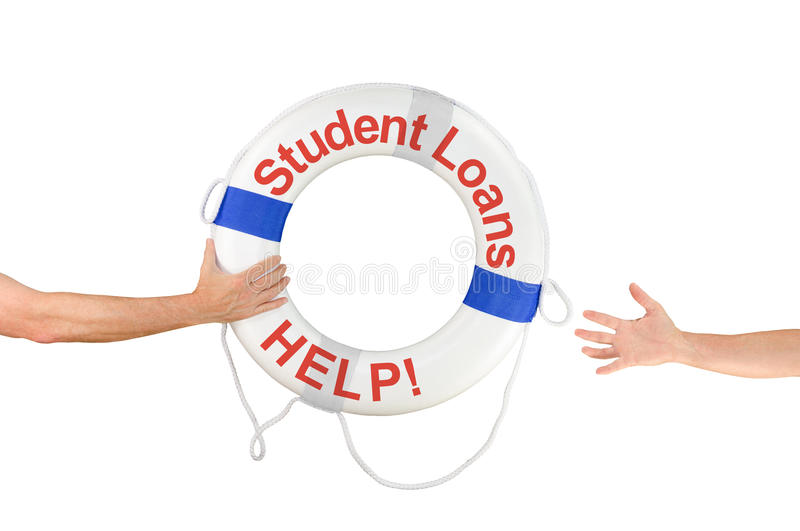 Student Loans HELP life buoy ring reaching hands. An arm is reaching out with a Student Loans HELP life buoy to help the financially drowning student who is royalty free stock photos
