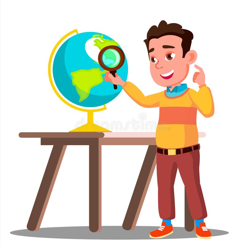 Student Looking Through A Magnifying Glass Globe, Geography Lesson Vector. Isolated Illustration. Student Looking Through A Magnifying Glass Globe, Geography royalty free illustration