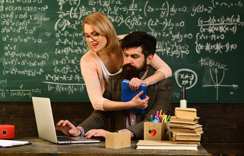 Student looks for studying method that suits his learning style, Workshop technology communication for education stock image
