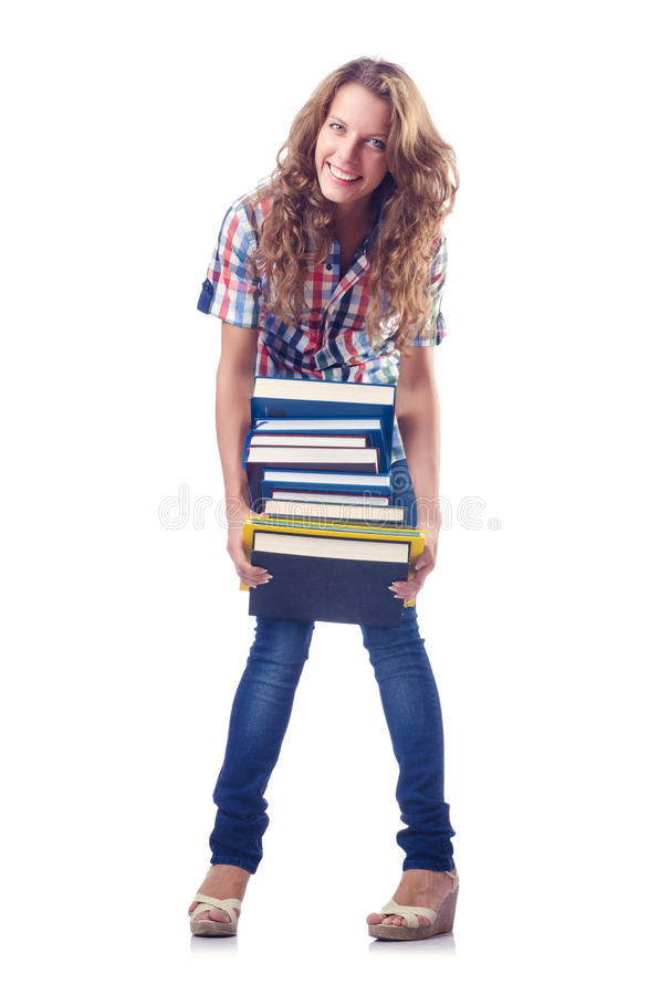 Download Student with lots of books stock photo. Image of graduate - 26480566