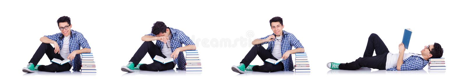 Student with lots of books on white royalty free stock image