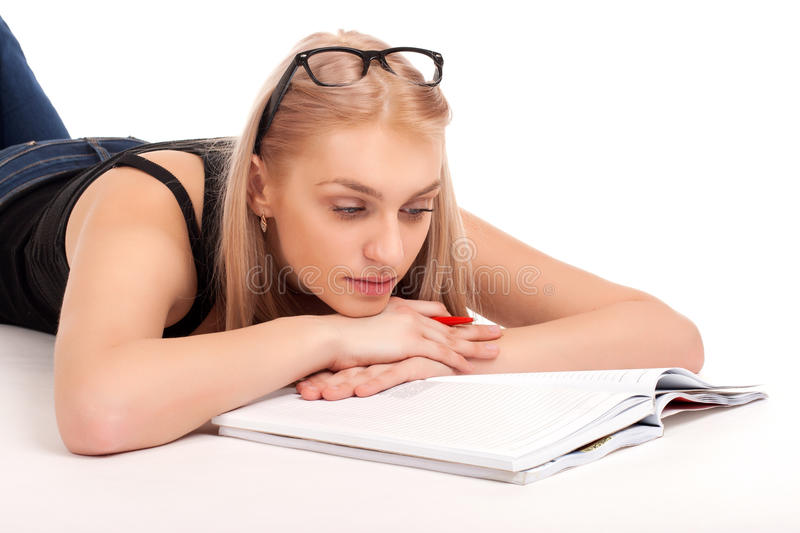 Download Student lying and studying stock photo. Image of posing - 29021900