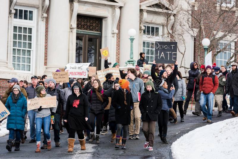 Student March - RPI - Troy, New York stock photo