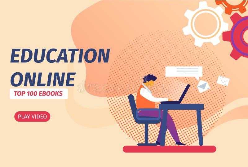 Student med att lära för bärbar dator som är avlägset via internet stock illustrationer