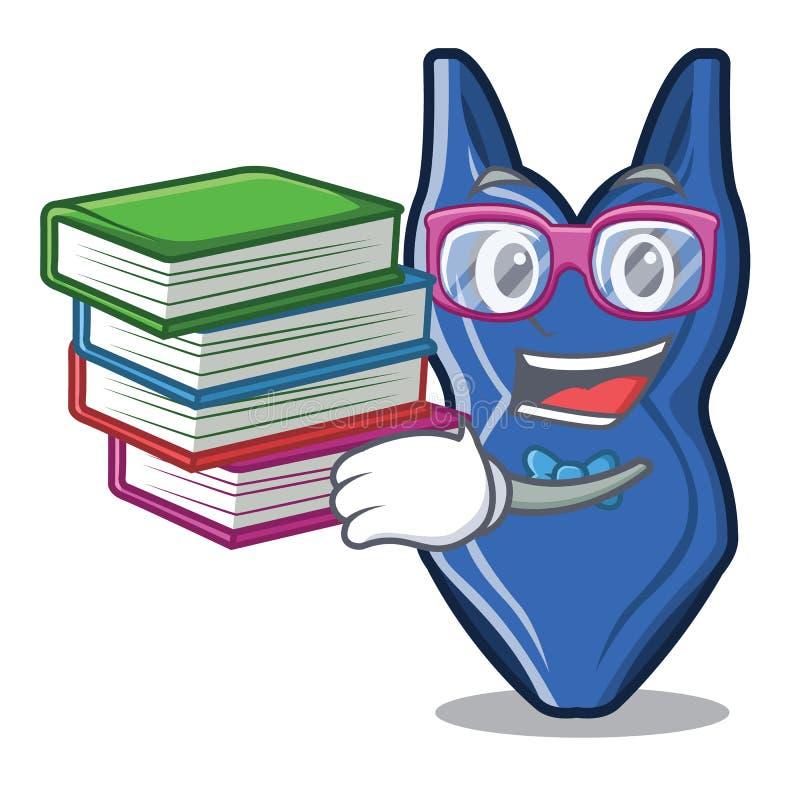 Student med bokswimsit på en maskotträtabell royaltyfri illustrationer