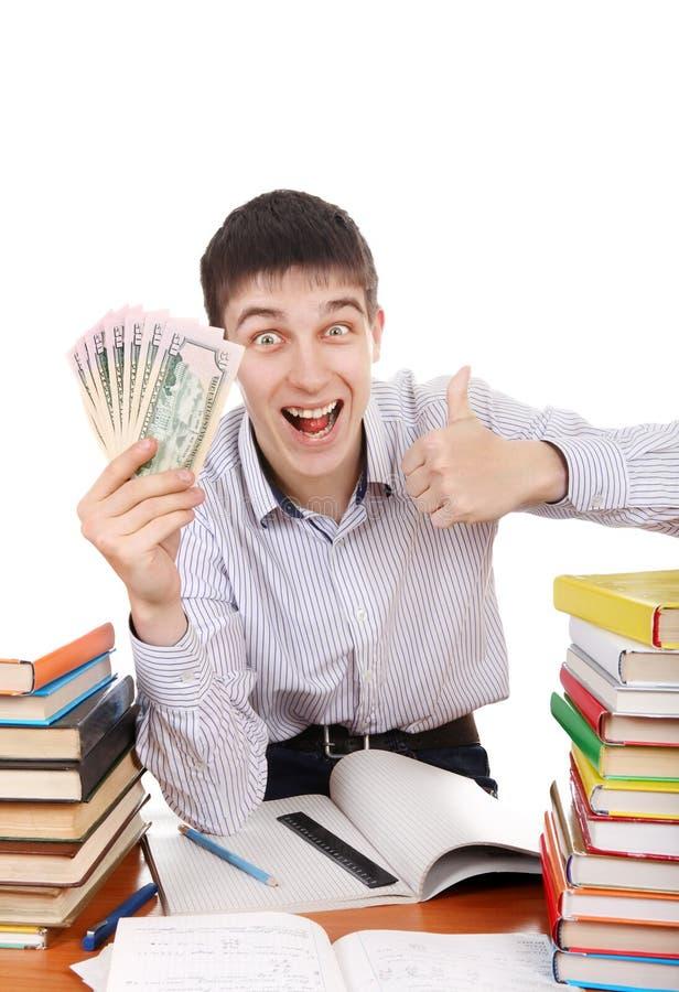 Student med pengar royaltyfri bild