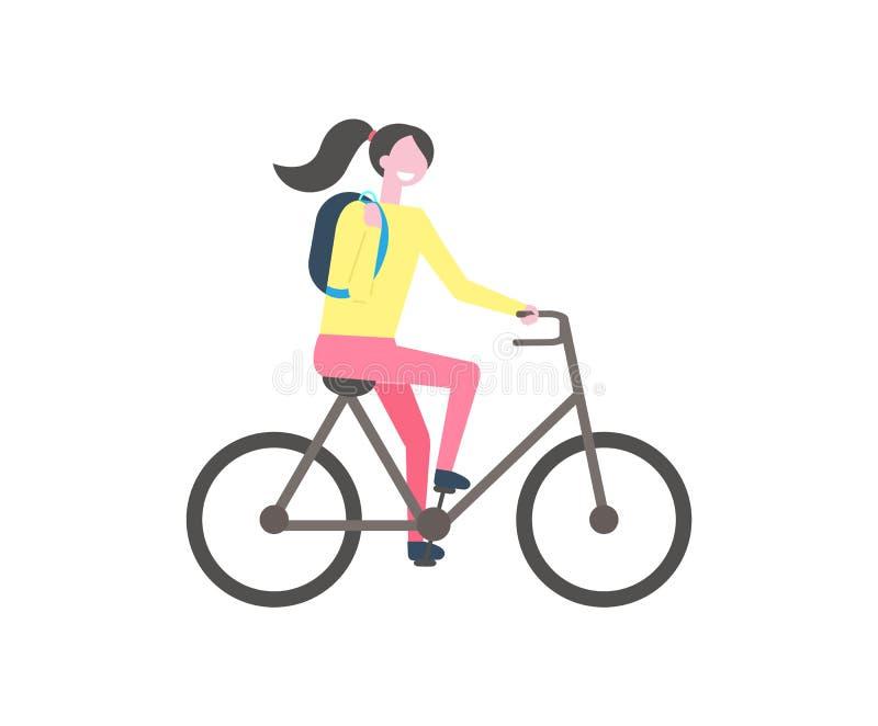 Student med ryggsäckridningcykeln, isolerad vektor stock illustrationer