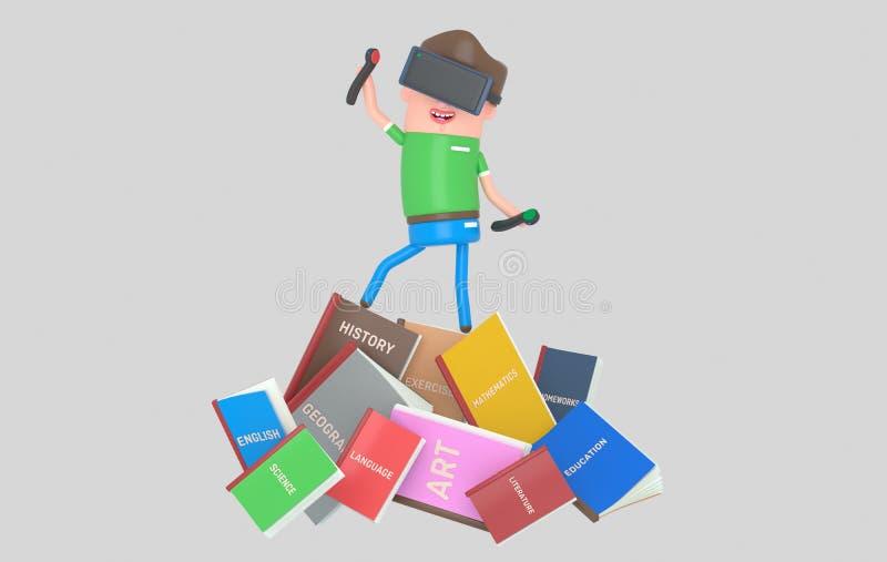 Student med virtuell verklighetuppsättninganseende på högen av böcker illustratiion 3d stock illustrationer