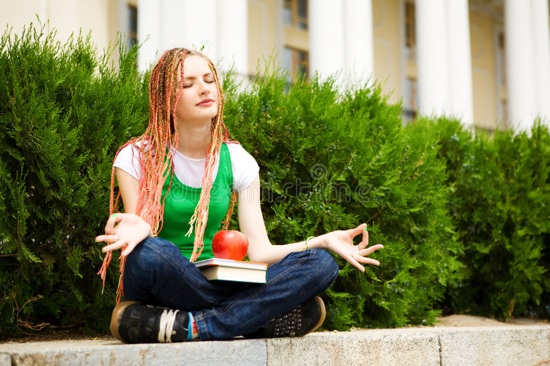 Download Student Meditating Outdoors Stock Image - Image: 5518605