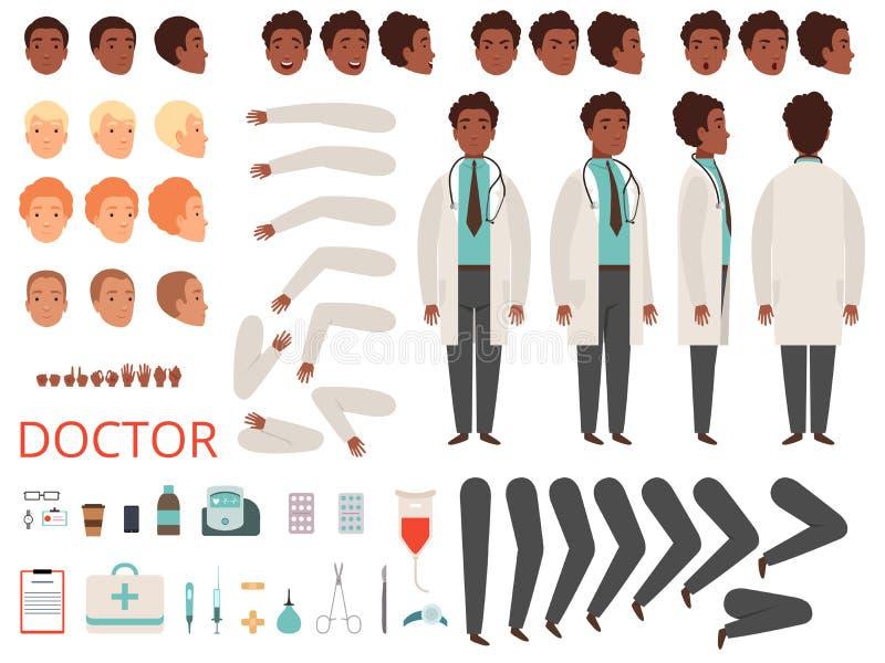 Student medycyny animacja Doktorskich charakterów medycyny personelu szpitalne części ciałe i odzieżowy wektorowy tworzenie zesta ilustracja wektor