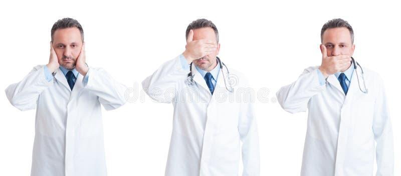 Student medycyny lub lekarka w trzy postawach ślepimy, niemowa i głuchy zdjęcia stock