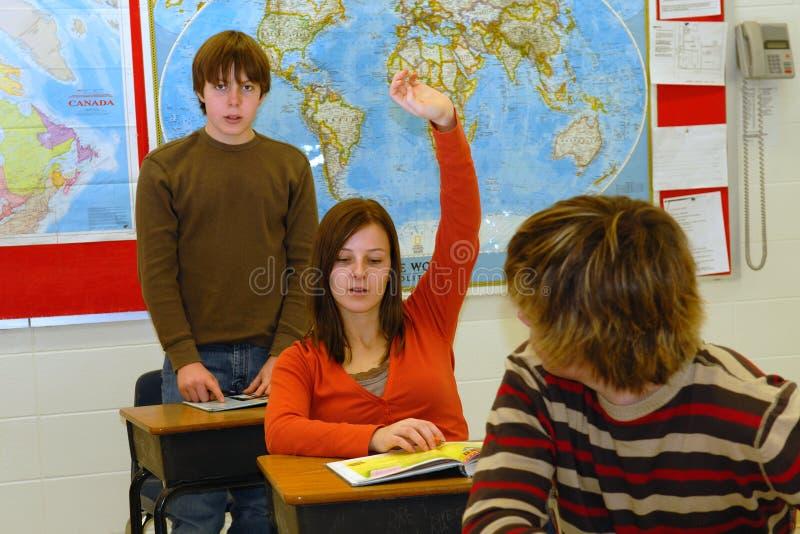 Student met Antwoord 3 stock foto's