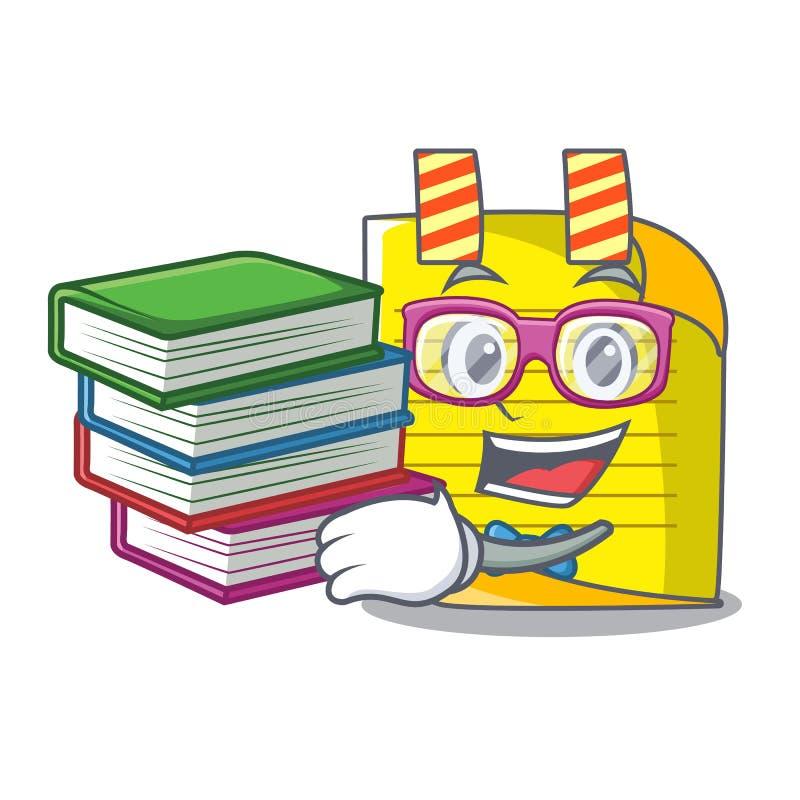 Student met de notadocument van de boekmascotte met referentie royalty-vrije illustratie