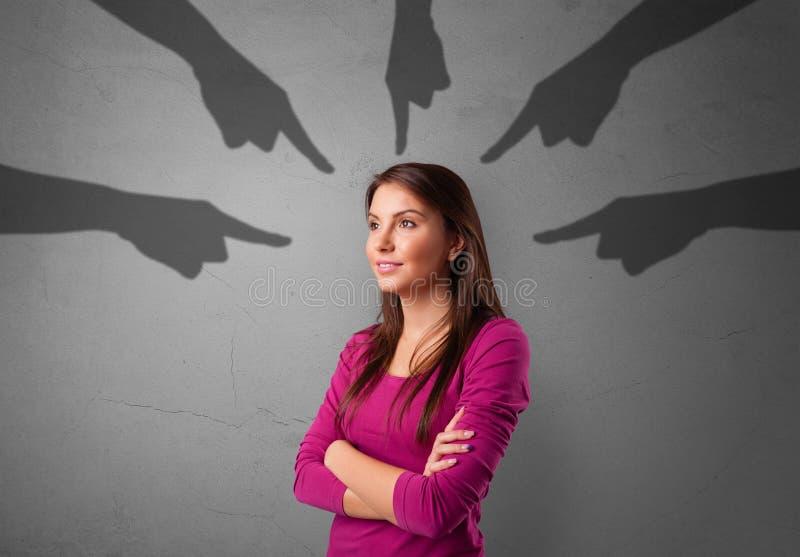 Student met het richten van handenconcept stock foto