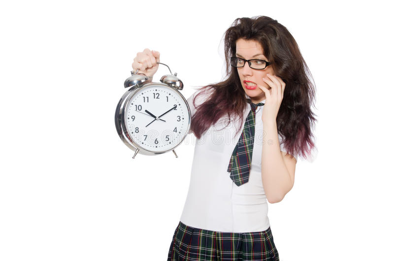 Student missing her deadlines. Isolated on white stock photography