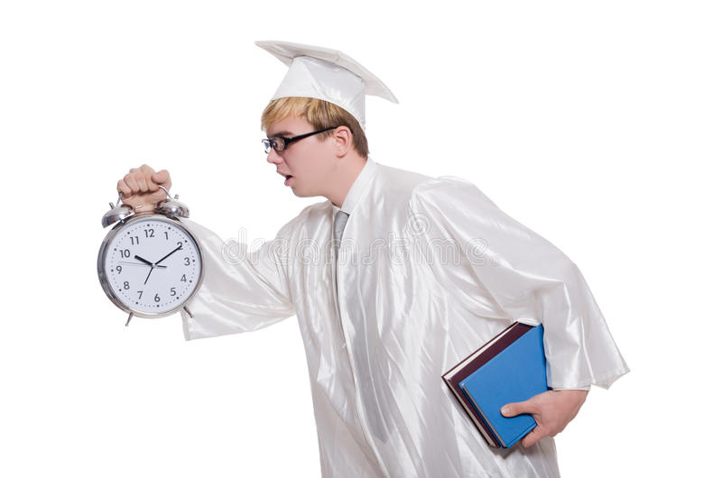 Student missing his deadlines with clock. On white stock images