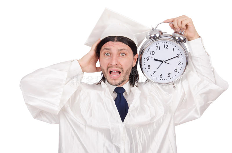 Student missing his deadlines. With clock on white royalty free stock photography