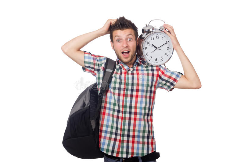 Student missing his deadlines isolated. On white royalty free stock image