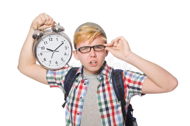 Student missing his studying deadlines. On white royalty free stock image