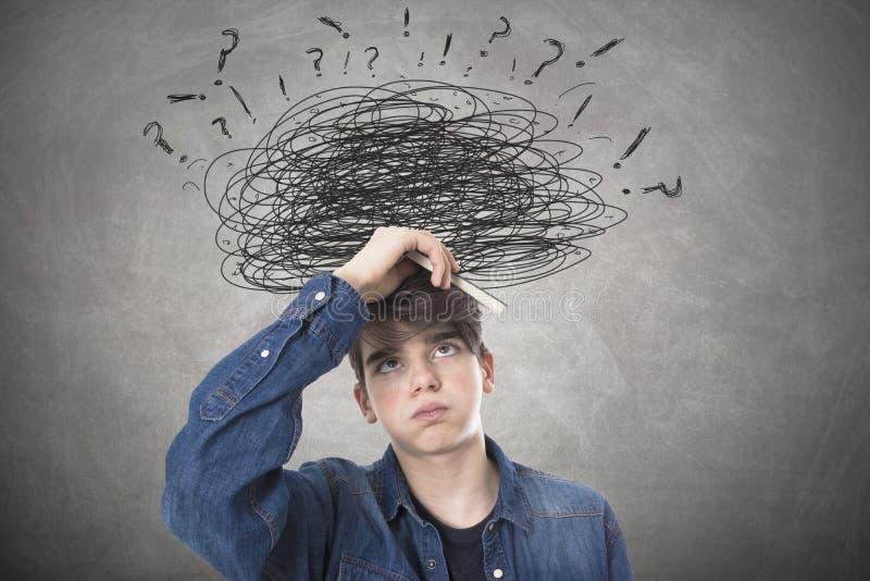 Student mit Druck und Problem stockbild