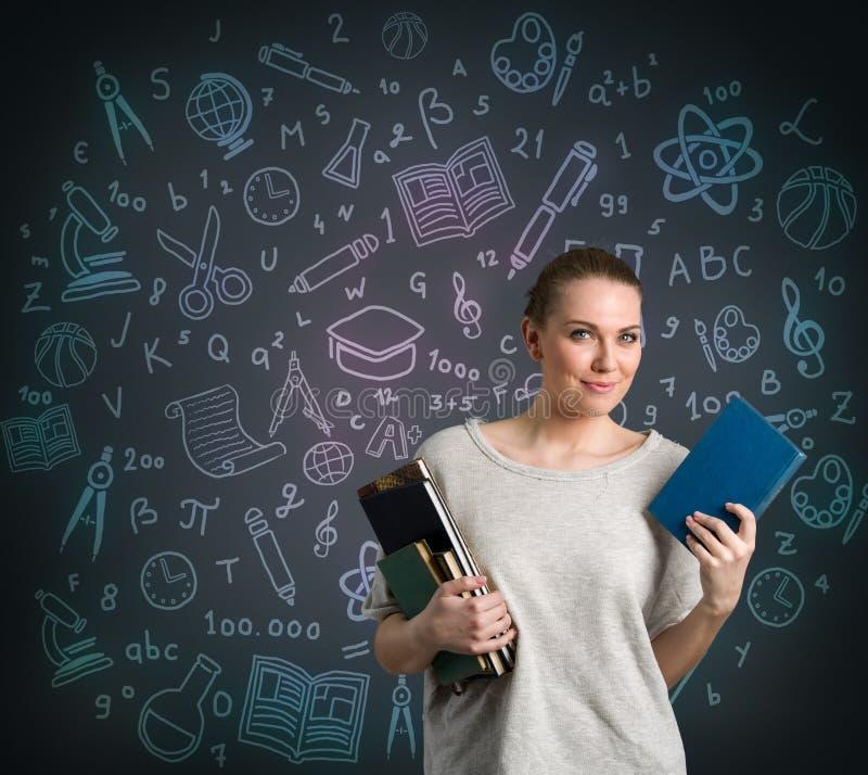 Student mit Mathe- und Wissenschaftsformel lizenzfreie stockbilder