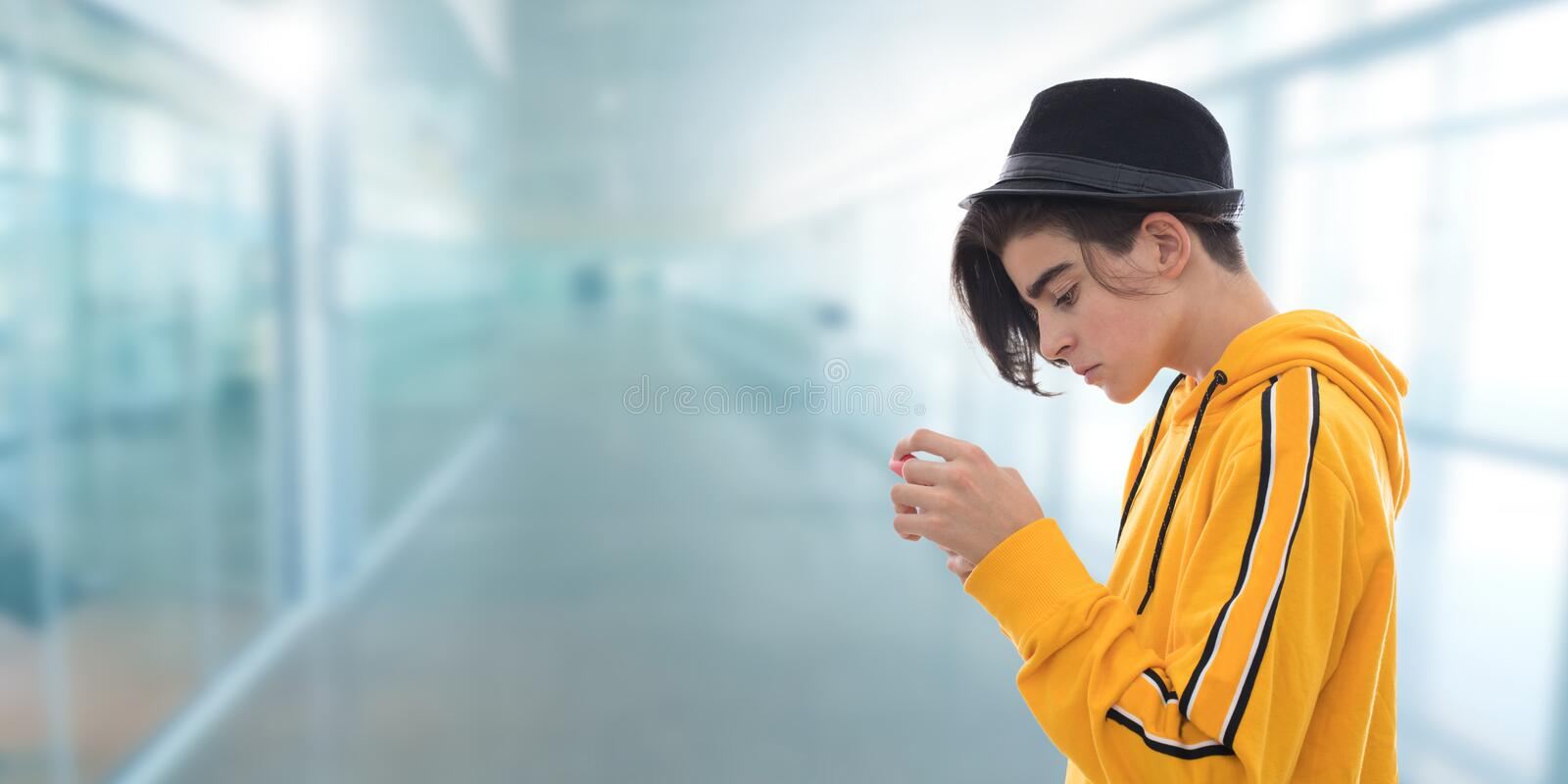Student with mobile stock photos