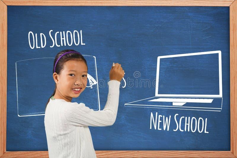 Student mot utbildningsbakgrunder med diagram arkivbild