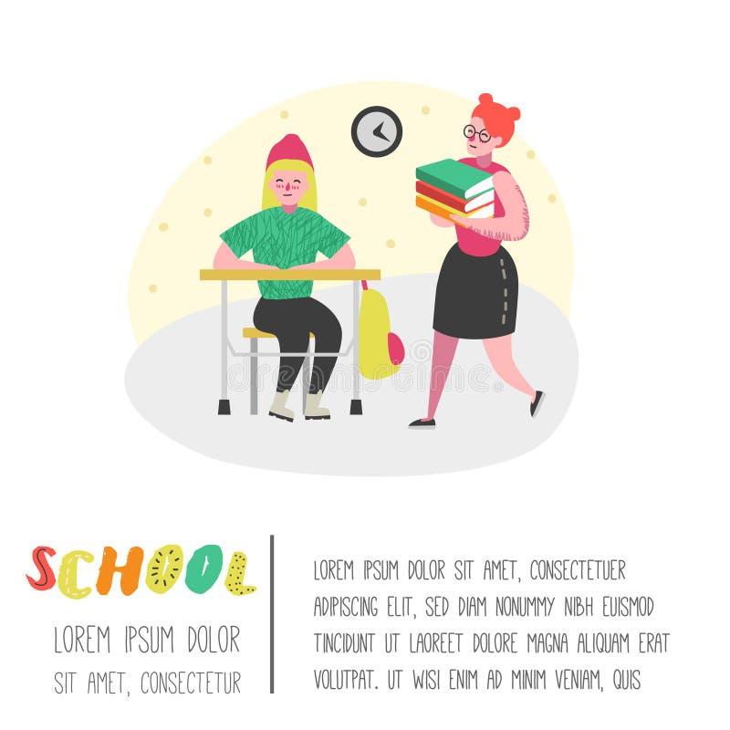 Student- och elevteckenuppsättning Dra tillbaka till skolaungar affischen Klassrum med skolbarn med ryggsäckar, böcker stock illustrationer