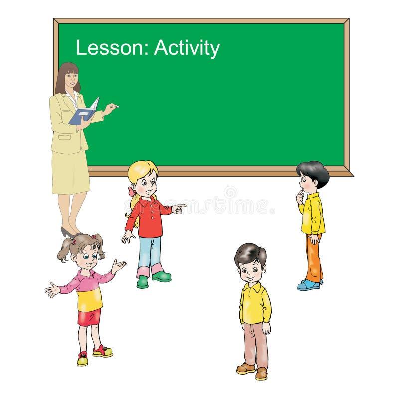 Student och lärare i aktivitet royaltyfri illustrationer