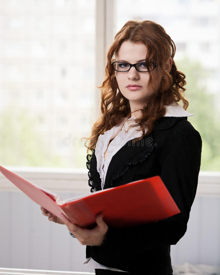Download Student with opened folder stock image. Image of indoors - 24903161