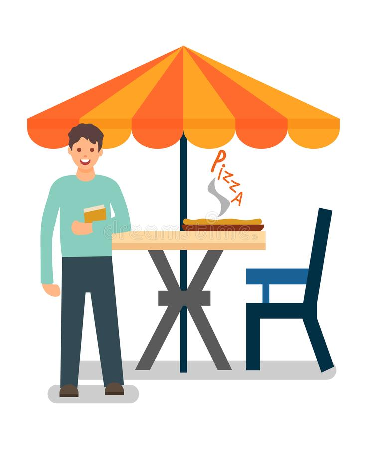 Student in Outdoor Food Court Vector Illustration. Office Man at Lunch Break. Guy Having Breakfast in Pizzeria Alone. Hot Tasty Pizza on Round Table. Male Flat vector illustration