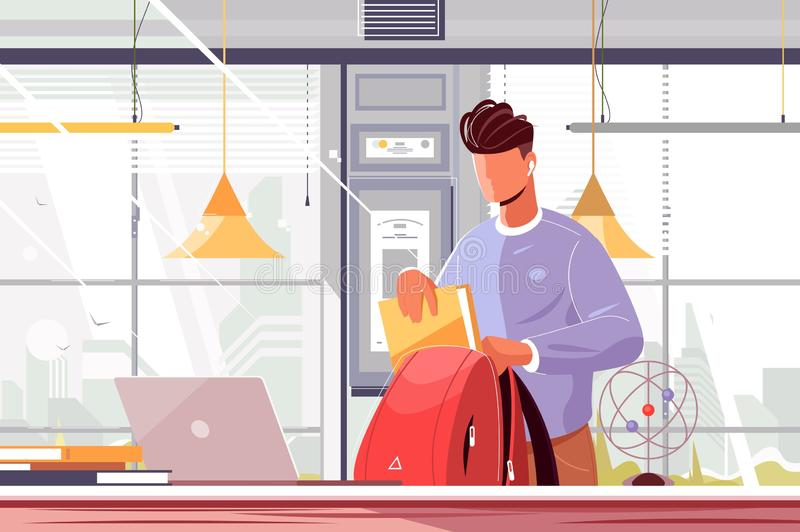 Student packing backpack. Vector illustration. Young guy in casual clothes putting books and copy-books in school bag flat style design. Back to school concept royalty free illustration