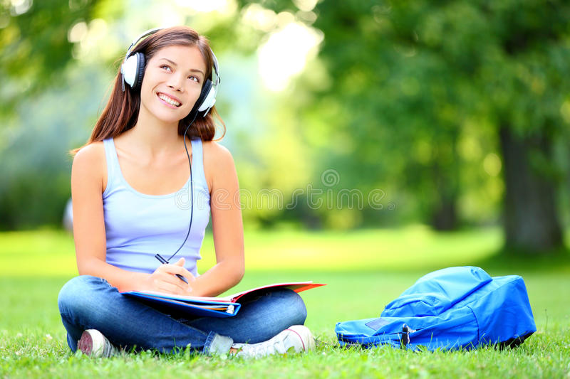 Student in park stock image