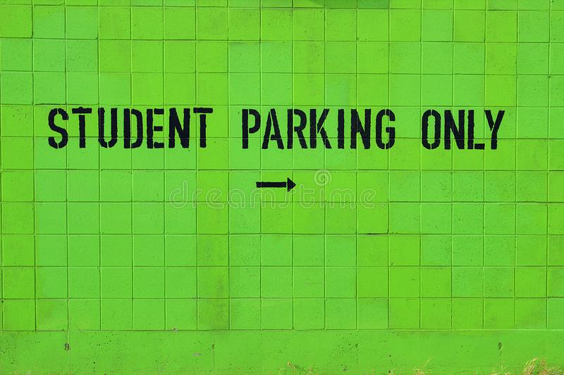 Student Parking Only Green Cinder Block Sign royalty free stock photography