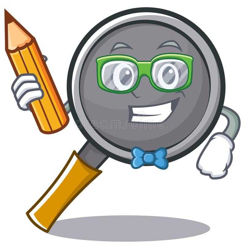 Student with pencil frying pan cartoon character. Vector illustration vector illustration