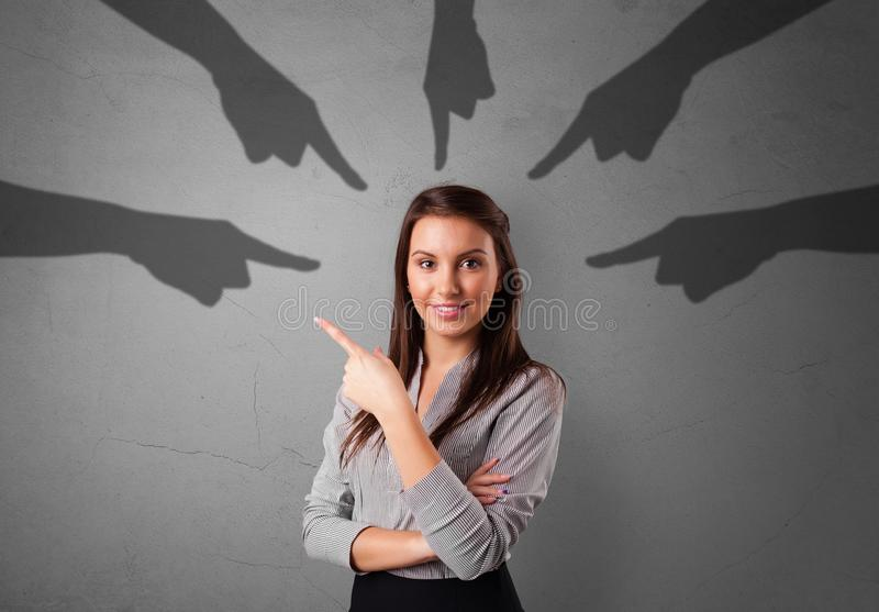 Student with pointing hands concept royalty free stock photo