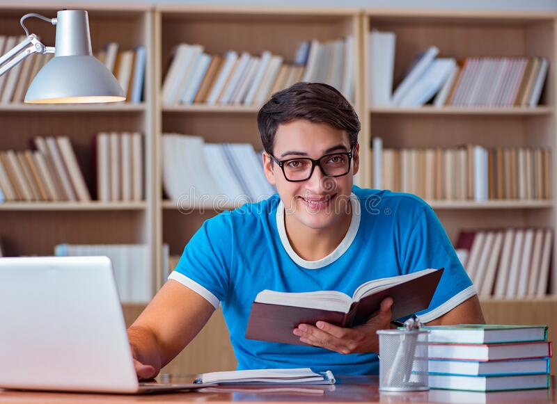 Student preparing for college exams royalty free stock image