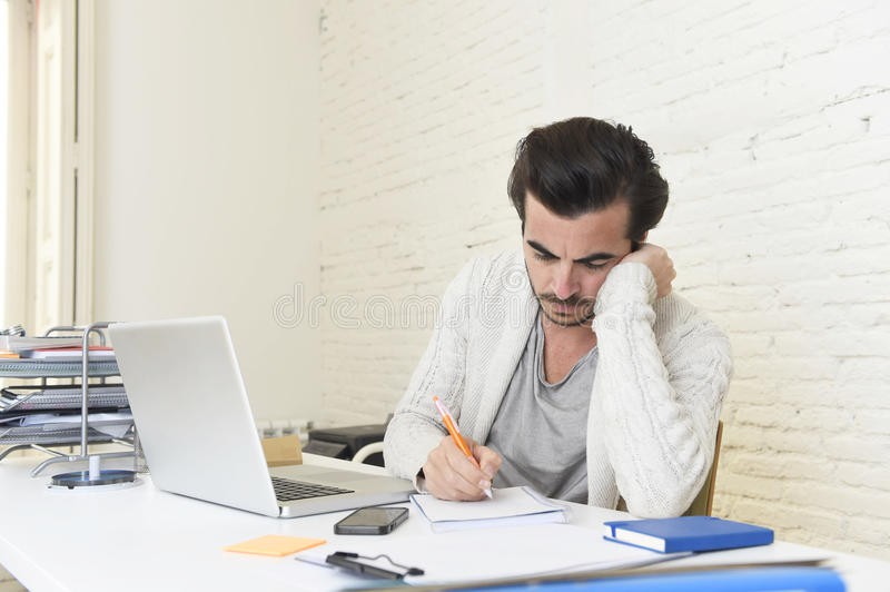 Student preparing university project or hipster style freelancer stock photos