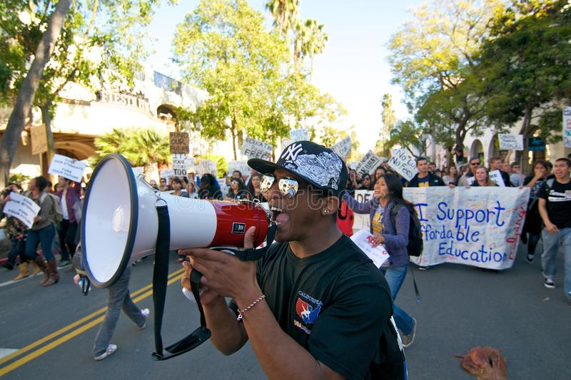 Student Protest in Santa Barbara, CA stock photography
