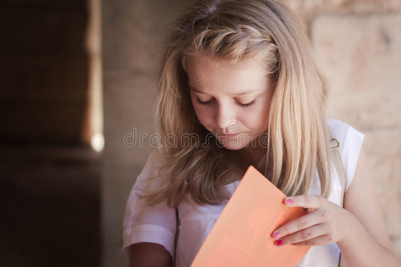 Student reading for exam stock photography